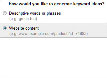 Google Adwords Tool Website Content