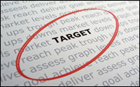 Words on a page with Target circled as Keyword