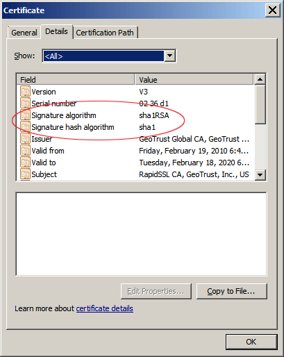 SSL cert with SHA1, you do not want to see this